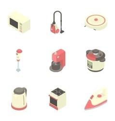 Kitchen electronic appliances icons set vector