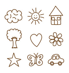 landscape doodle drawing set icons vector image