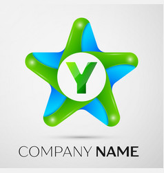 letter y logo symbol in the colorful star on grey vector image
