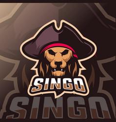 lion mascot esport logo vector image