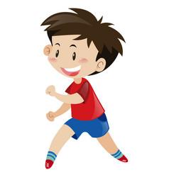 Little boy in red shirt running vector