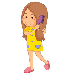 Little girl combing hair vector