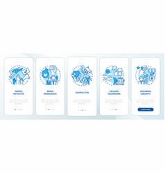 Main company core values onboarding mobile app vector