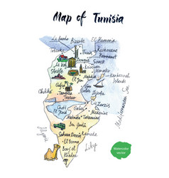 Map of tunisia watercolor vector