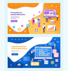 marketing promotion algorithmization programming vector image