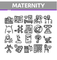 Maternity hospital collection icons set vector