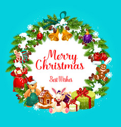 merry christmas greetings in fir wreath vector image