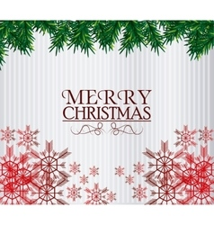 Merry christmas leaves and snowflakes design vector