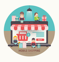 mobile shopping banner vector image