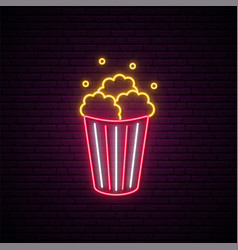 Neon popcorn sign bright glowing popcorn icon vector
