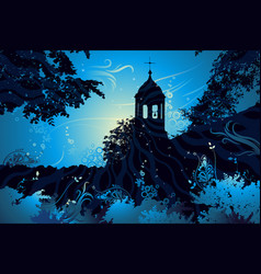 Night landscape with church vector