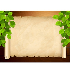 old paper on wooden background vector image