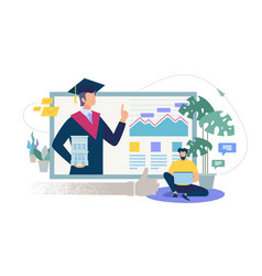 online education service flat concept vector image