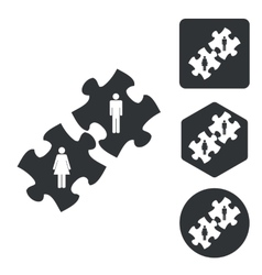 People puzzle icon set monochrome vector image