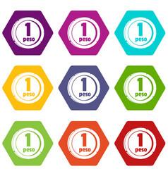 Peso icons set 9 vector