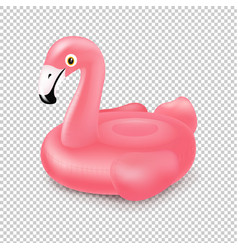 pink inflatable flamingo swim ring isolated vector image