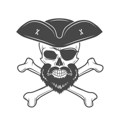 Pirate skull in cocked hat with beard eye patch vector