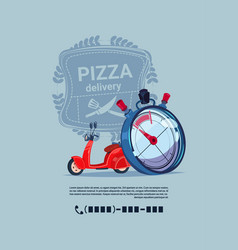 pizza delivery emblem template banner with copy vector image