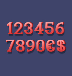 Red 3d numbers and currency signs with curly vector