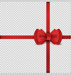red satin realistic bow scarlet decorative knot vector image