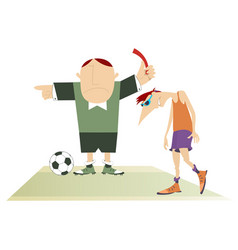 Referee with a red card and upset football player vector