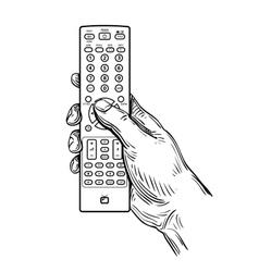 Remote control in hand vector