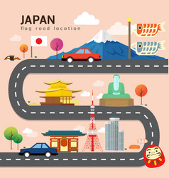road map and journey route in japan vector image