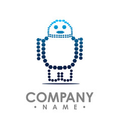 robot logo simple of robot brain logo for web vector image