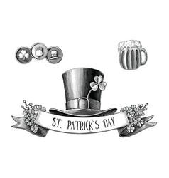 saint patricks day logo hand draw vintage vector image