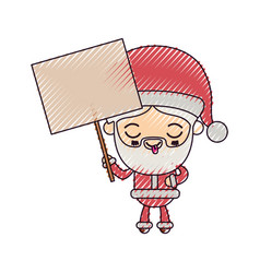 santa claus cartoon holding a wooden poster face vector image