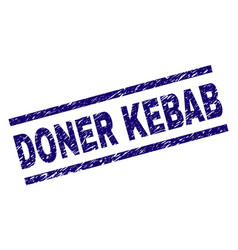 scratched textured doner kebab stamp seal vector image