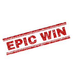 Scratched textured epic win stamp seal vector