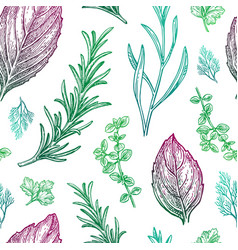 seamless pattern with seasonings and herbs vector image