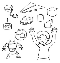 set kid and toy vector image