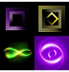Set of Blurry abstract lines Light effect Sparkle vector image