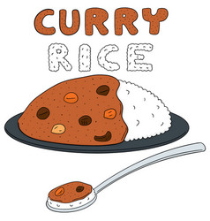 Set of curry rice vector
