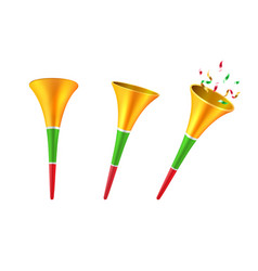 Set of isolated 3d party horns or soccer trumpet vector