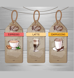 Set of restaurant labels of coffee menu design vector