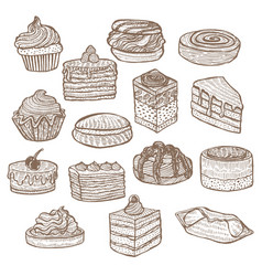 Set of sweets in hand drawn doodle style vector