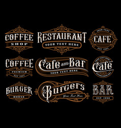 set of vintage lettering for the catering vector image