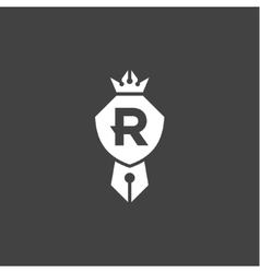 Shield is compatible pen crown emblem logo with vector image