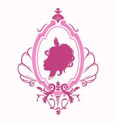 Silhouette of a beautiful girl princess in a vector