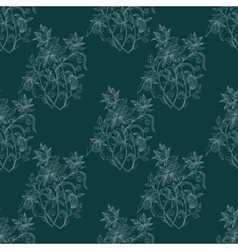 Sketch zentangle seamless floral pattern vector image