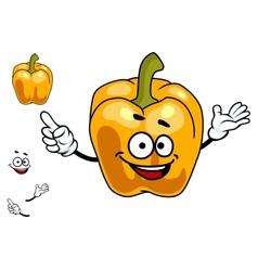 Smiling orange sweet bell pepper vegetable vector