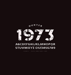 Stencil-plate sans serif font in classic style vector