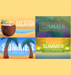 Sunny tropical resort banner set cartoon style vector