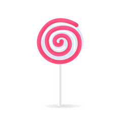 Swirl spiral lollipop candy isolated on white icon vector