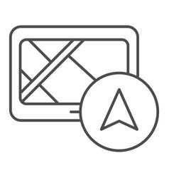Tablet navigator thin line icon gps vector