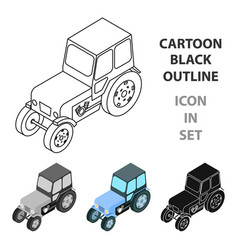 tractor icon in cartoon style isolated on white vector image