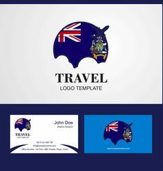 Travel south georgia flag logo and visiting card vector